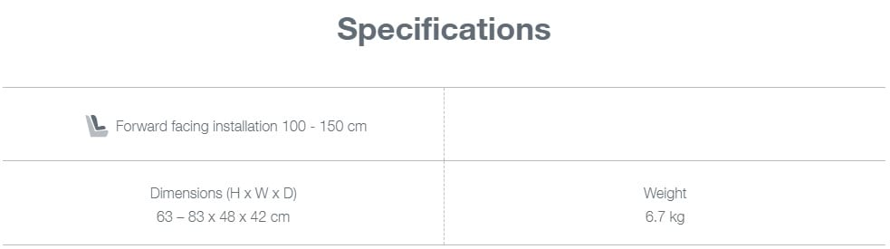 Specifications Kidfix i-size